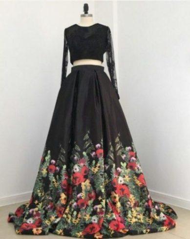 Longue jupe noir à fleurs evenements mariage été