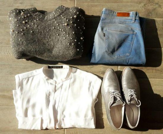 Pull zara jeans levis chemisier blanc à poches chaussures derbies elisabeth stuward my sweet beauté