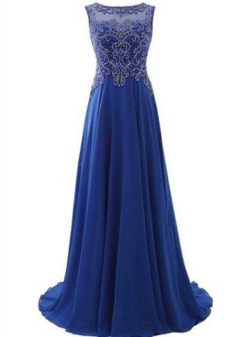 Robe longue beau avec paillettes bleu roi