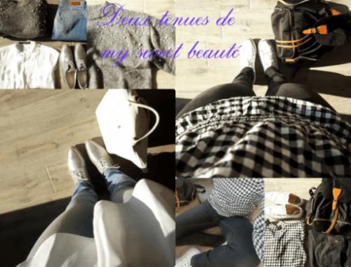tenues simples my sweet beauté zara hm longchamps fashion levis converse