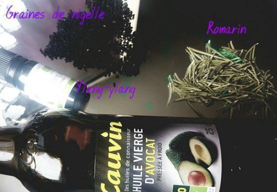 huile avocat romarin et graine de nigelles pour faire pousser les cheveux