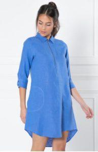 La robe chemisier bleue en lin escales paris