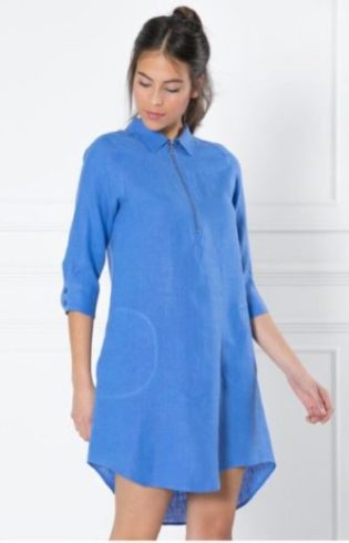 La robe chemisier bleue en lin escales paris