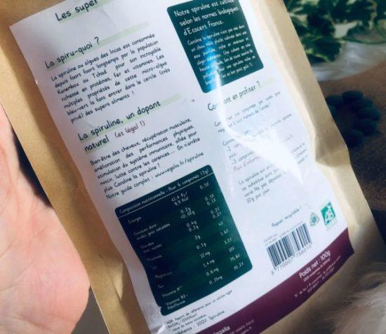 vegalia ingrédients spiruline bio vegan